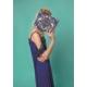 Roman Bayan Boncuk Detaylı Desenli Mavi Çanta