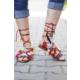 İnce Topuk Etnik Desenli Sandalet