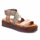 Cabani Çapraz Bağ Dolgu Topuk Günlük Kadın Sandalet Gri Deri
