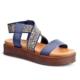 Cabani Çapraz Bağ Dolgu Topuk Günlük Kadın Sandalet Lacivert Deri
