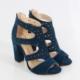 Smspetrol Süet Kalın Topuklu Kadın Sandalet 2186