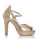 EsMODA Cc-1818 Altın Parlak Kadın Taşlı Platformlu Ayakkabı