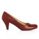 EsMODA Ma-006 Bordo Deri Klasik Kısa Topuklu Ayakkabı