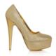 EsMODA Ma-008 Altın Simli Platform Topuklu Ayakkabı