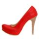 EsMODA Ma-014 Kırmızı Deri Platform Topuklu Ayakkabı
