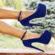 EsMODA Vd-8012 Saks Süet Bilekten Bağlı Platformlu Ayakkabı