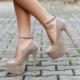 EsMODA Vd-8012 Vizon Süet Bilekten Bağlı Platformlu Ayakkabı