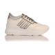 Esmoda SM-8007 Beyaz Rugan Platin Bayan Günlük Bağcıklı Ayakkabı