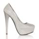 Esmoda MA-019 Gümüş Simli Platform Topuklu Ayakkabı