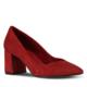 Marjin Aki Topuklu Ayakkabı Kırmızı Süet