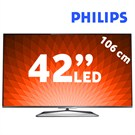 "Philips 42PFL6008K 42"" 500HZ Wi-Fi  (Çift Çekirdekli)  Ambilight SMART 3D FULL HD LED TV + 4 Gözlük + Klavyeli Kumanda"