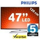 "Philips 47PFL5008K 47"" 300Hz WiFi DLNA Ambilight UYDU ALICILI SMART 3D FULL HD LED TV + 2 Gözlük Hediyeli"
