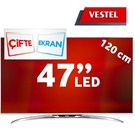 "Vestel 47PF9090 47"" SMART FULL HD 3D LED TV + 4 Gözlük"
