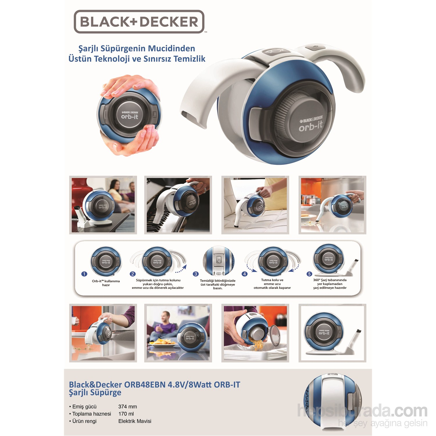 black decker orb48ebn 4 8v 8watt orb it arjl s p rge fiyat. Black Bedroom Furniture Sets. Home Design Ideas