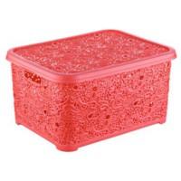 Elif Plastik Sarmaşık Dantelli Sepet Kapaklı Kırmızı