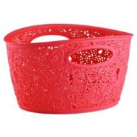 Elif Plastik Sarmaşık Dantelli Sepet Kırmızı