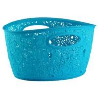 Elif Plastik Sarmaşık Dantelli Sepet Mavi