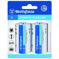 Westinghouse Alkalin D Boy Büyük Pil 2Li Blister Ambalaj