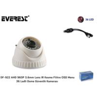 Everest Df-922 Ahd 1,3 Megapıxel 960P Osd Menu 3.6 Mm 36 Ir Led Dome Kamera