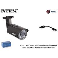 Everest DF-937 AHD 1080P-2 MEGAPIXEL 2.8~12mm Varifocal IR Kesme Filitre OSD Menu 42 Ledli Güvenlik