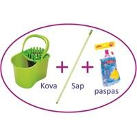 Flora Çift Hazneli Temizlik Seti (Kova+Sap+Mop)