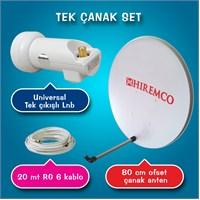 Hiremco Tek Çanak + Universal Lnb + 20 Mt Kablo