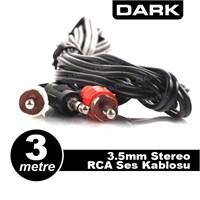Dark 3 Metre 2 x RCA (Analog Ses) - 3.5mm Stereo Kablosu (2 x RCA Erkek - 1 x 3.5mm Stereo Erkek )(DK-CB-AURCAX35L300TV)