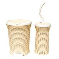 T-Design Plastik Çöp Kovası & Fırça Hasır Set Krem