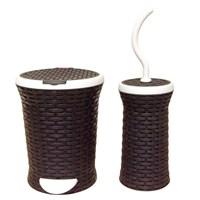 T-Design Pls Çöp Kovası & Fırça Hasır Set Siyah
