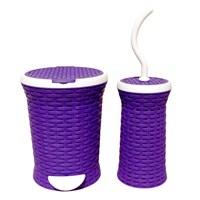 T-Design Pls Çöp Kovası & Fırça Hasır Set Mor