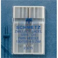 Schmetz Elastik Kumaşlar İçin Çift İğne 2,5 mm İğne Aralığı 75 Numara Tekli Paket