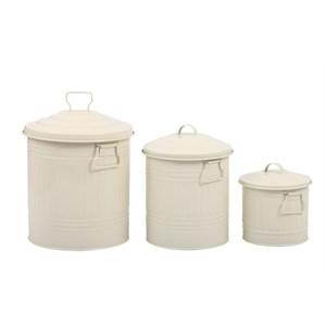 fidex home 3lü çöp kova set-krem