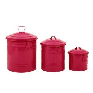 fidex home 3lü çöp kova set-fuşya