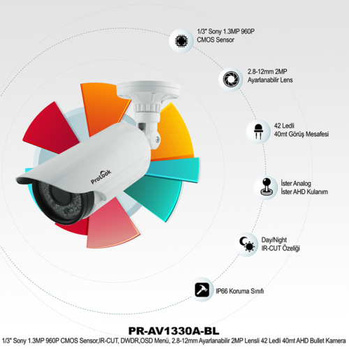 Prolook PR-AV1330A-BL Güvenlik Kamerası (IR Kamera)