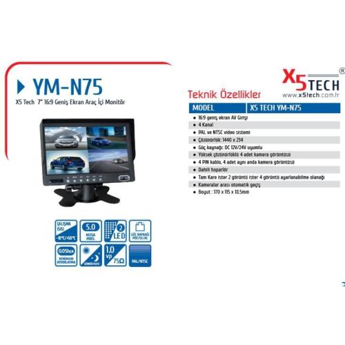 "X5 Tech Ym-N75 (L702) 7"" 4 Kanal Araç İçi Monitör"