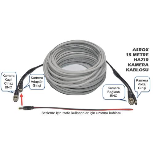 Asrox Hazır CCTV Kamera Kablosu 15 Metre Tak Kullan
