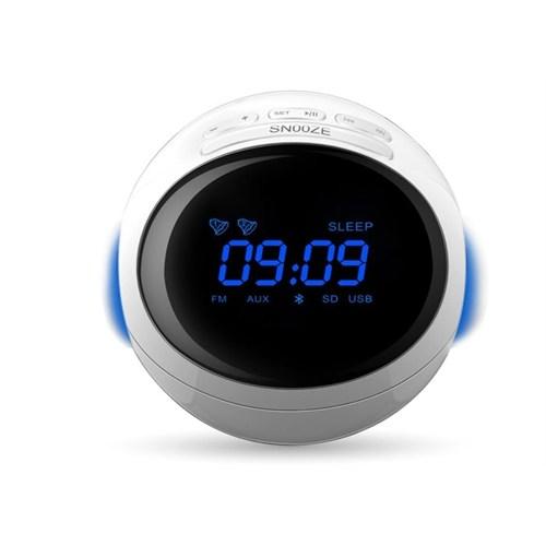 Mikado MD-99BT 3W+3W Beyaz FM Radyo Destekli Saat ve Alarmlı Bluetooth Speaker