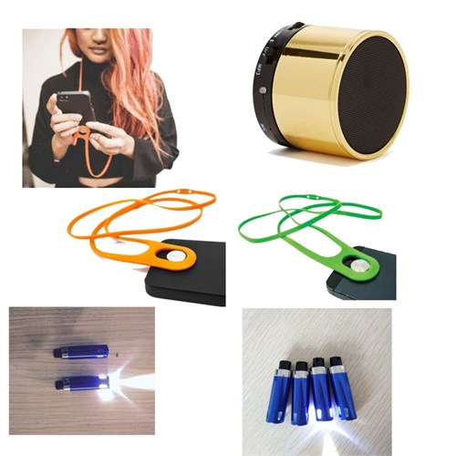 Ready Set Go Bluetooth Hoparlör - Altın - Telefon Askısı - El Feneri