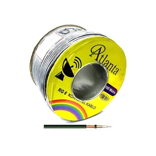 Atlanta Rg6-U6 Bakır Anten Kablosu 100Metre Siyah