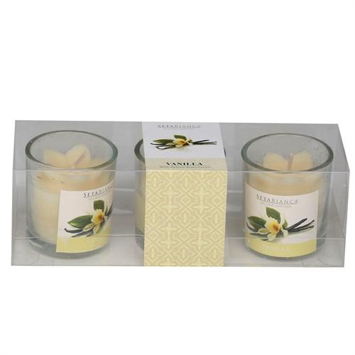 Setabianca Aroma Mum Kokulu Cam Bardak 3'Lü Vanilla