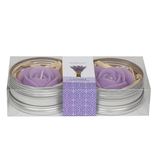 Hepsi Dahice Aroma Mum Kokulu Metal Güllü 2'Li Lavender