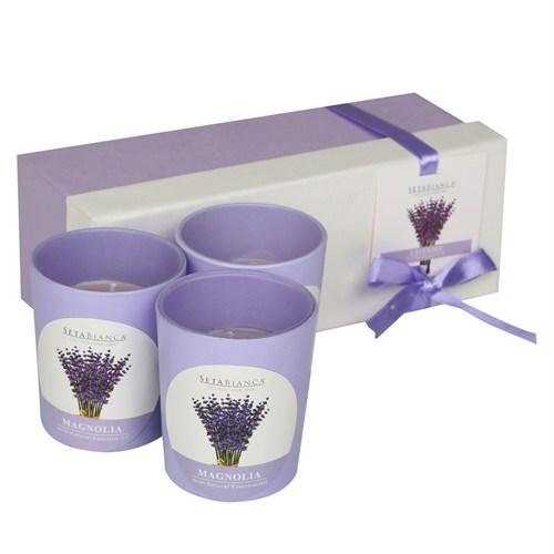 Hepsi Dahice Aroma Mum Kokulu Cam Kutu 3'Lü Lavender