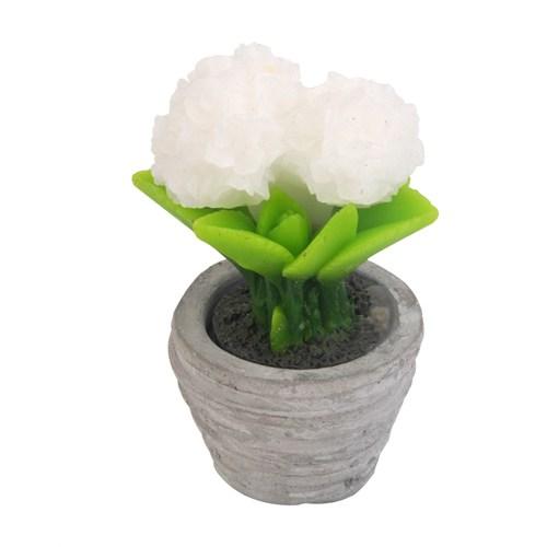 Setabianca Fun Candle Led Saksı Çiçek Beyaz Küçük H13 D7cm