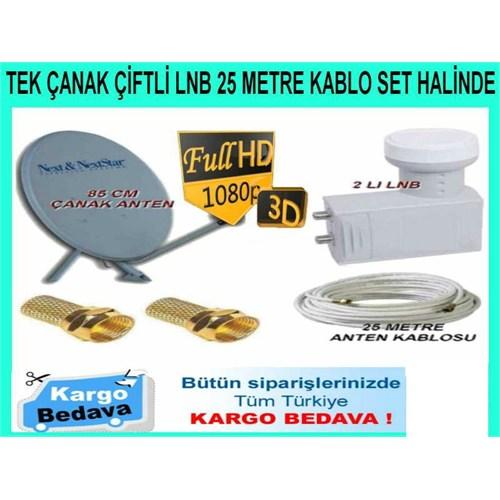 Nextstar Çanak Anten Çiftli Lnb 25 Mt Kablo