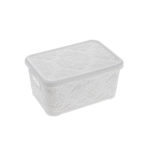 Oya Desenli Çok Amaçlı Sepet(No:3) 10Lt -Beyaz
