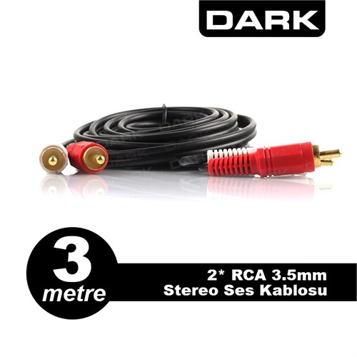 Dark 3 Metre 2 x RCA (Analog Ses) - RCA Stereo Ses Kablosu (DK-CB-AURCAXRCAL300TV)