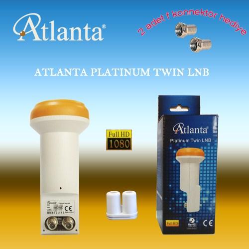 ATLANTA PLATINUM TWIN LNB (FULL HD - Çift Çıkışlı) + F Konnektör Hediye