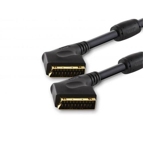 TTAF SCART to SCART Profesyonel Kablosu Ferit Kömürlü Kilitli Tip Konnektör 24K Altın 5m (96185)