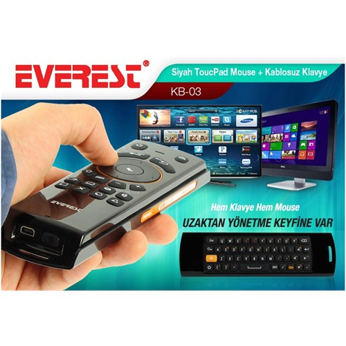 Everest KB-03 Siyah Touchpad Mouse Q Multimedia + Kablosuz Klavye