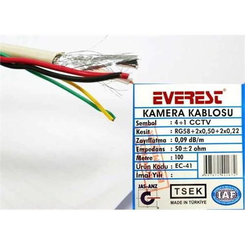 Everest Ec-41 4Ve1 Folyolu 100M Lüks Cctv Kablo